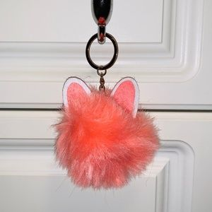 Orange Fluffy Pom Pom with Bunny Ears Keychain